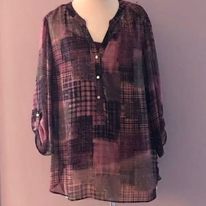 Sarah Michelle Purple/Black Print Blouse
